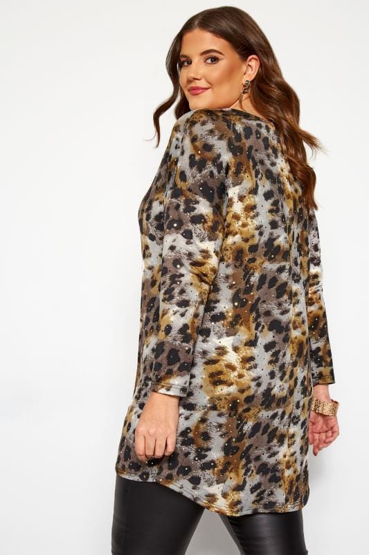Brown Animal Print Sparkle Dipped Hem Top