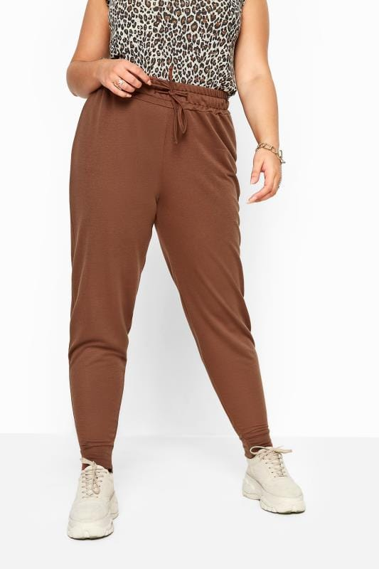 Brown Basic Cuffed Joggers