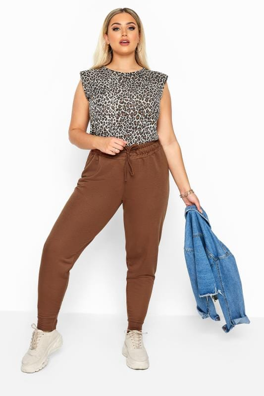 Plus Size Joggers Brown Basic Cuffed Joggers
