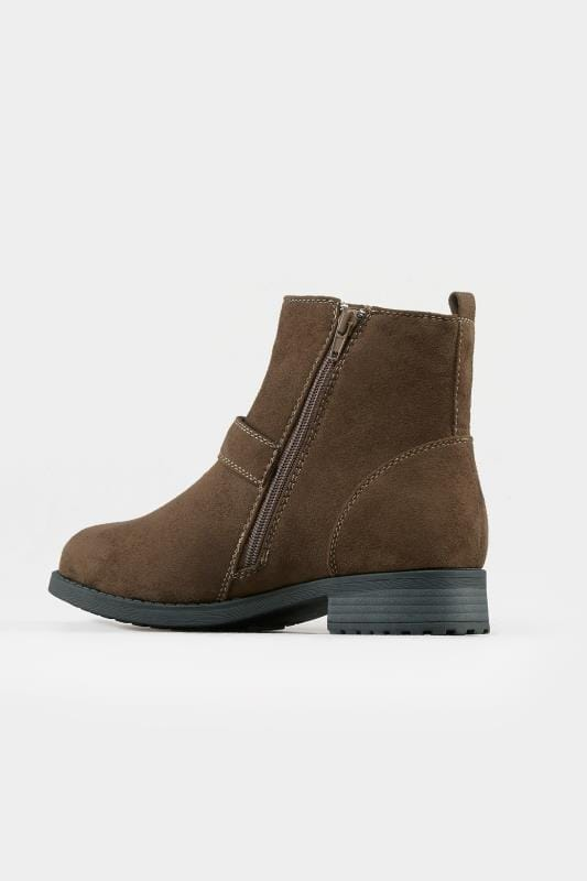 Brown Buckled Ankle Boots In Extra Wide Fit
