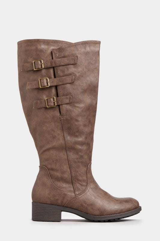 online store 0bce1 6bb14 Brown Buckled Knee High Boots In Extra Wide Fit