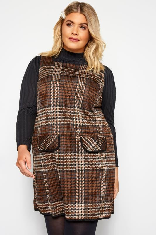 Plus Size Tunics Brown Check Mock Pocket Tunic