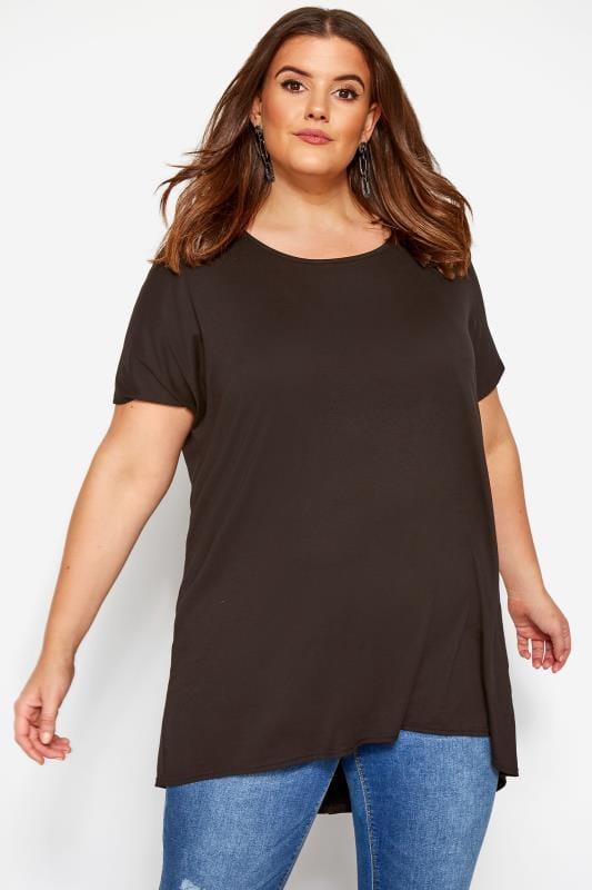 T-Shirt mit Stufensaum - Braun