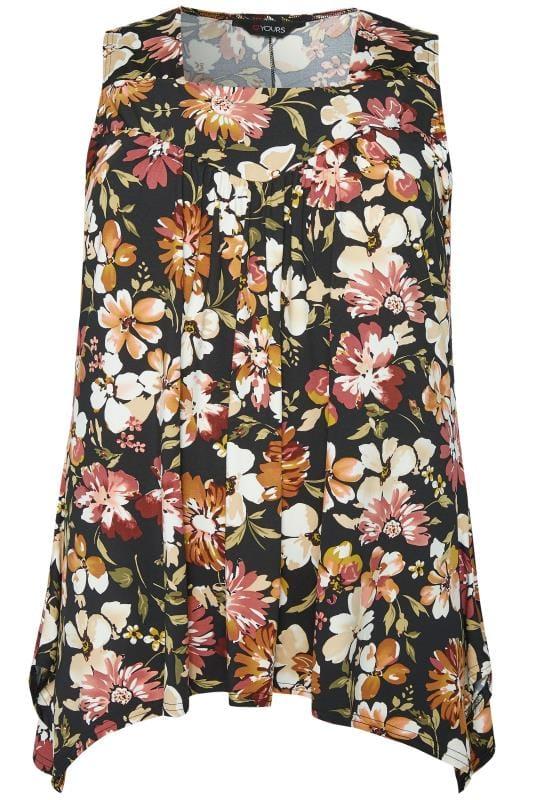 Brown Floral Hanky Hem Swing Top