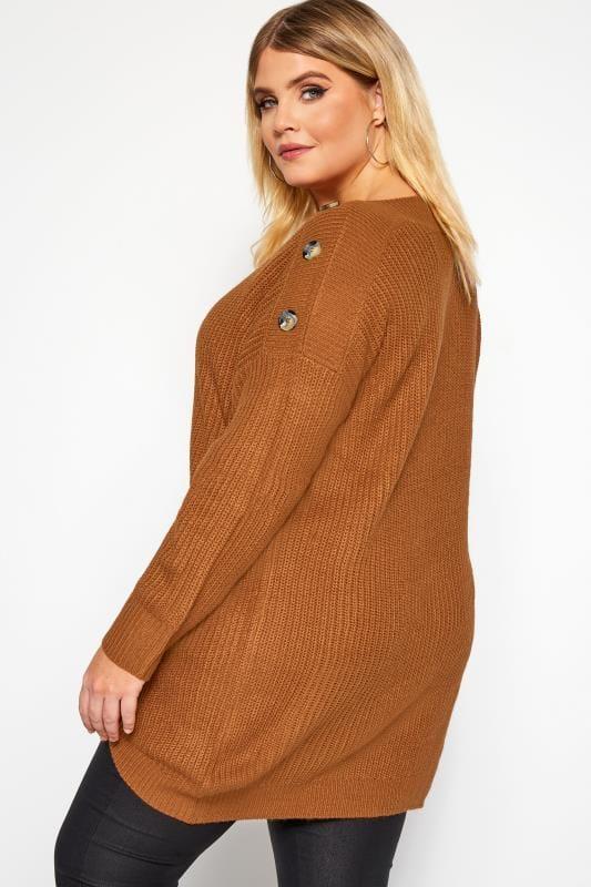 Brown Horn Button Knitted Jumper