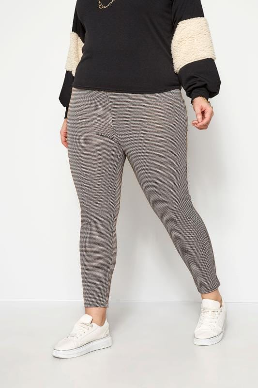 Plus Size Harem Trousers Brown Knitted Check Trousers