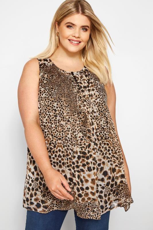 Plus Size Chiffon Blouses Brown Leopard Print Chiffon Vest Top