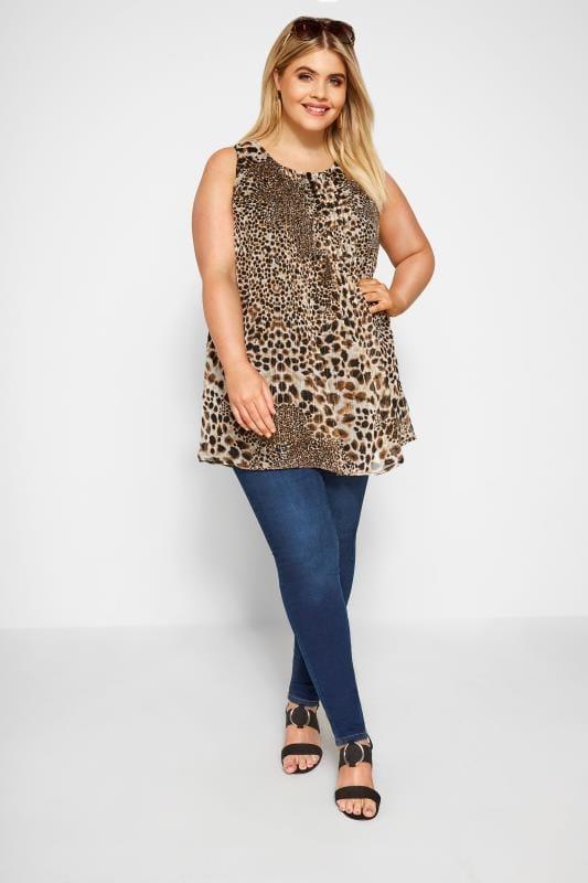 Brown Leopard Print Chiffon Vest Top