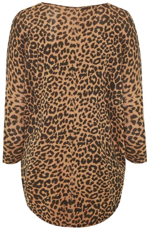Brown Leopard Print Extreme Dip Print Top