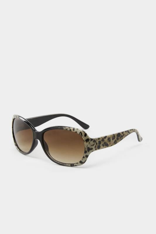 Brown Leopard Print Oversized Sunglasses