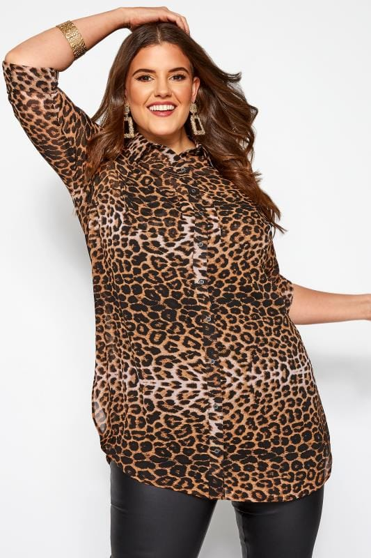 Plus Size Casual / Every Day Brown Leopard Print Shirt