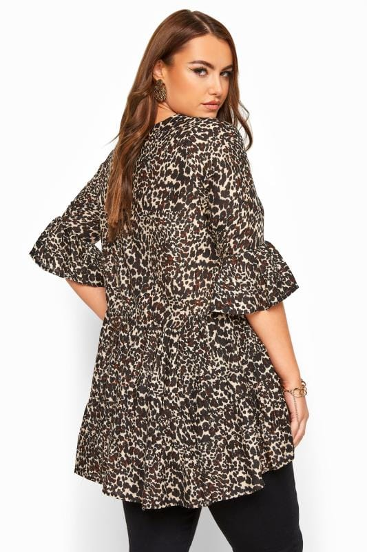 Brown Leopard Print Smock Blouse