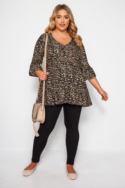 Plus Size Blouses & Shirts Brown Leopard Print Smock Blouse