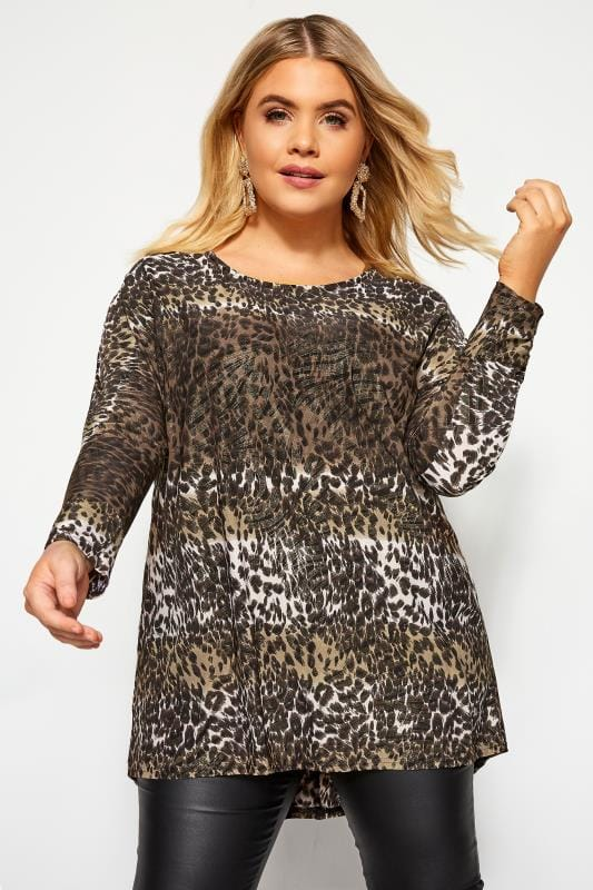 Plus Size Jersey Tops Brown Metallic Leopard Print Dipped Hem Top