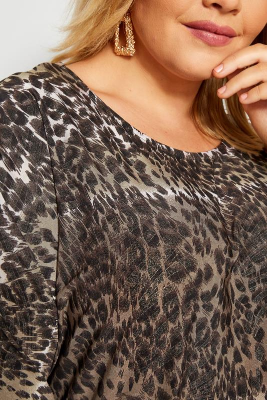 Brown Metallic Leopard Print Dipped Hem Top
