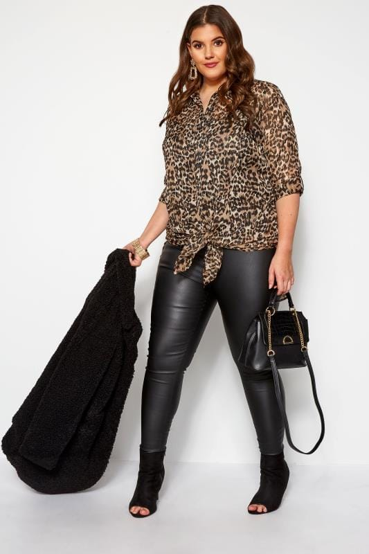 Brown Metallic Leopard Print Shirt