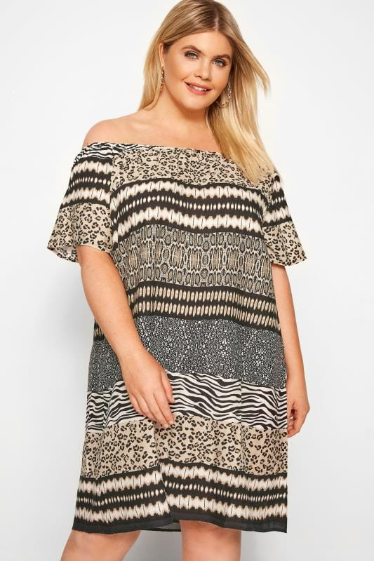 Plus Size Casual Dresses Brown Mixed Animal Print Bardot Dress