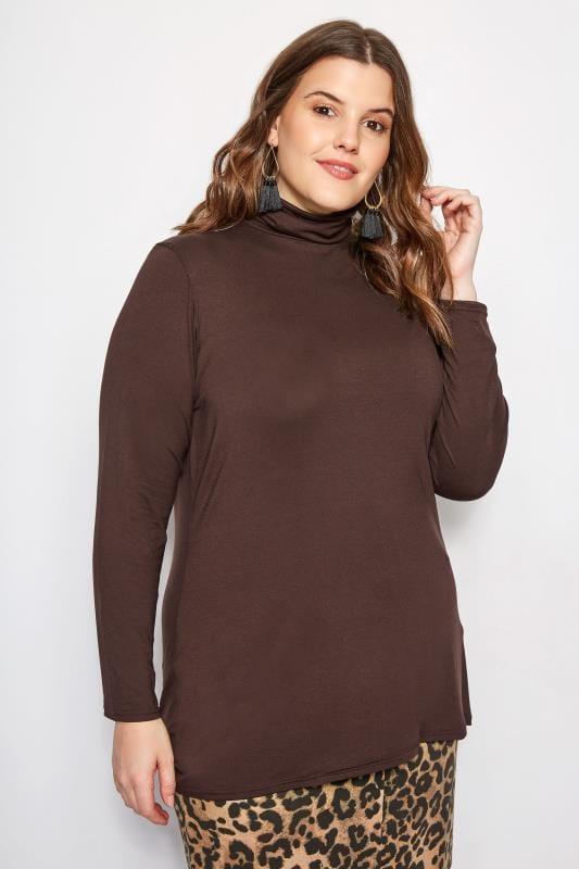 Plus Size Jersey Tops Brown Turtleneck Top