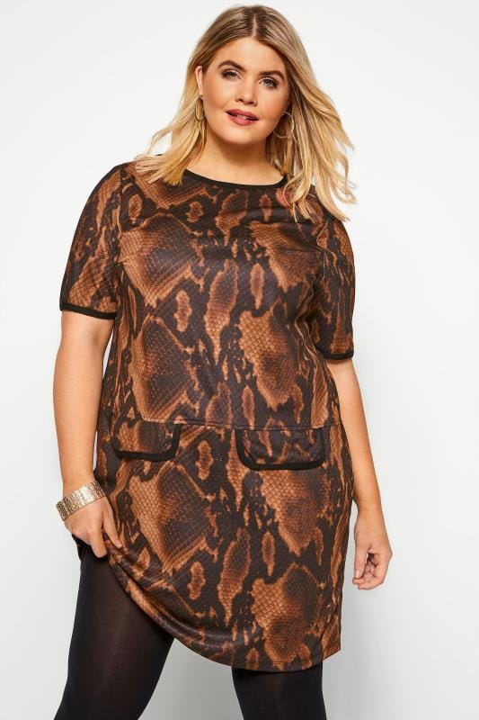 Plus Size Tunics Brown Snake Print Mock Pocket Tunic