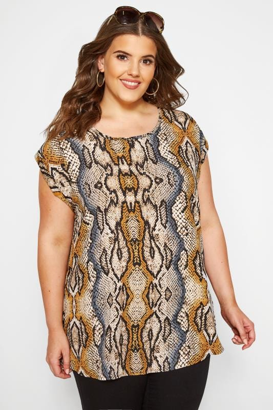 Plus Size Day Tops Brown Snake Print Shell Top