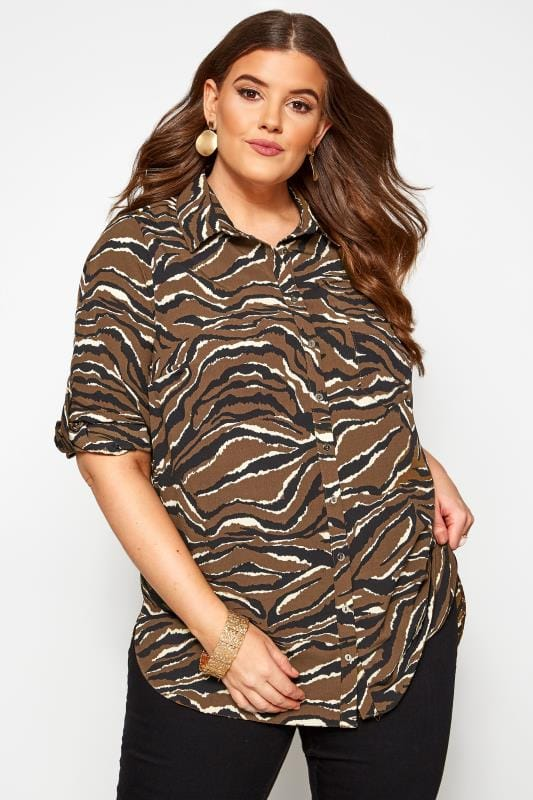 Plus Size Blouses & Shirts Brown Zebra Print Shirt