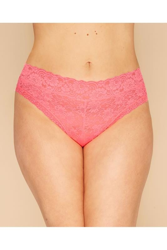 Plus Size Briefs Bubblegum Pink Lace Briefs