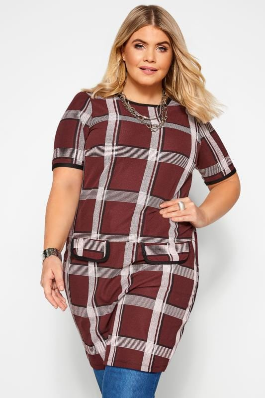 Plus Size Casual Dresses Burgundy Check Tunic