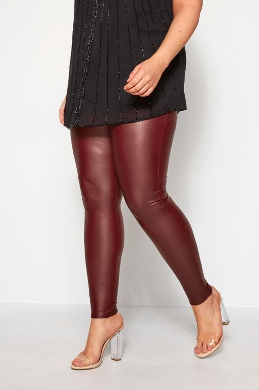 Plus Size Fashion Leggings Burgundy Coated Look Leggings