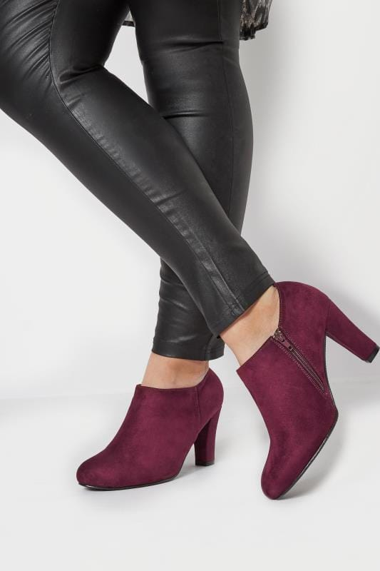 Burgundy Heeled Shoe Boots In EEE Fit