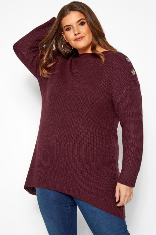 Plus Size Jumpers Burgundy Horn Button Knitted Jumper
