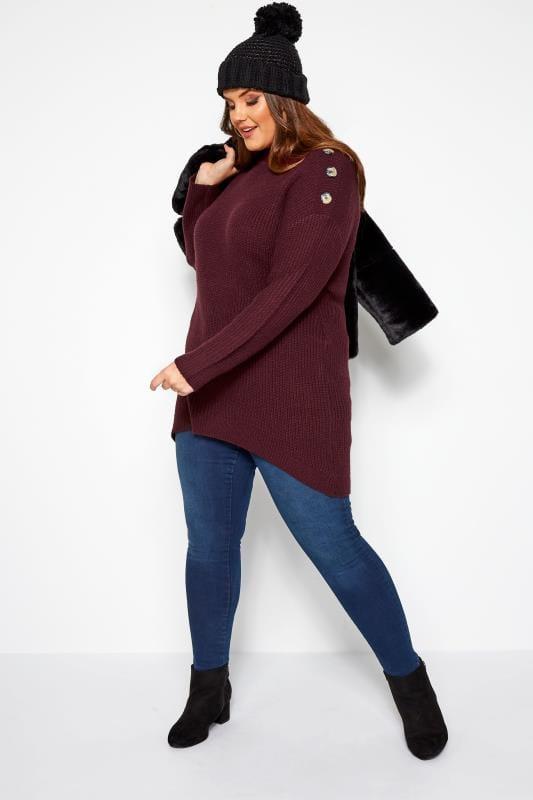 Sweter z guzikami na ramionach, bordowy