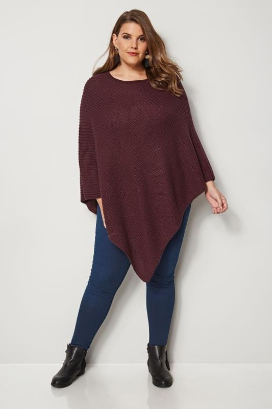 Burgundy Knitted Poncho