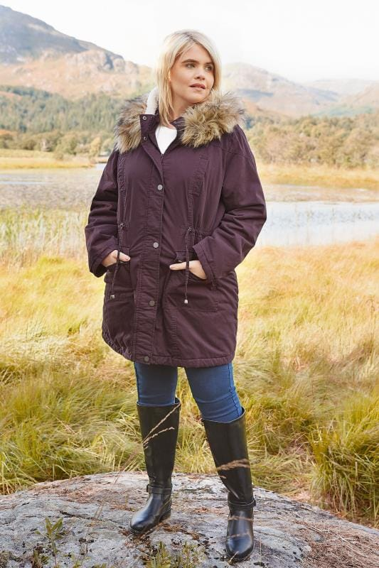 Burgundy Lined Parka With Faux Fur Trim Hood