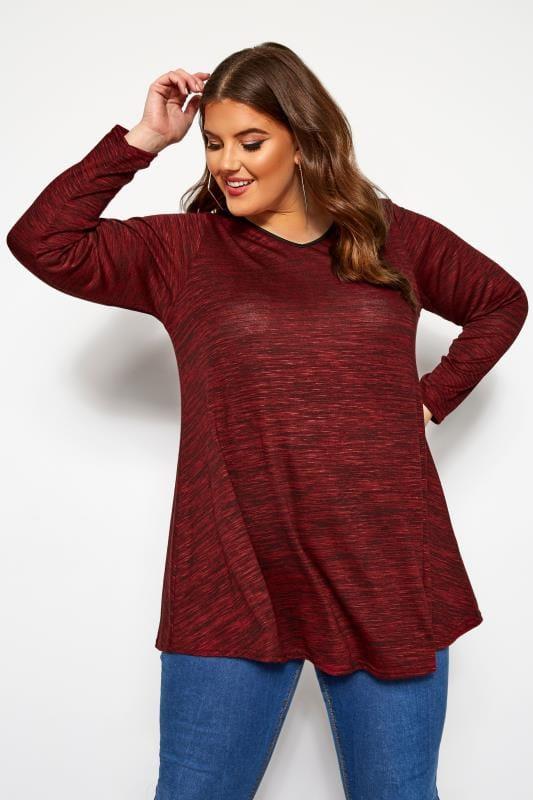 Plus Size Longline Tops Burgundy Marl Long Sleeved Swing Top