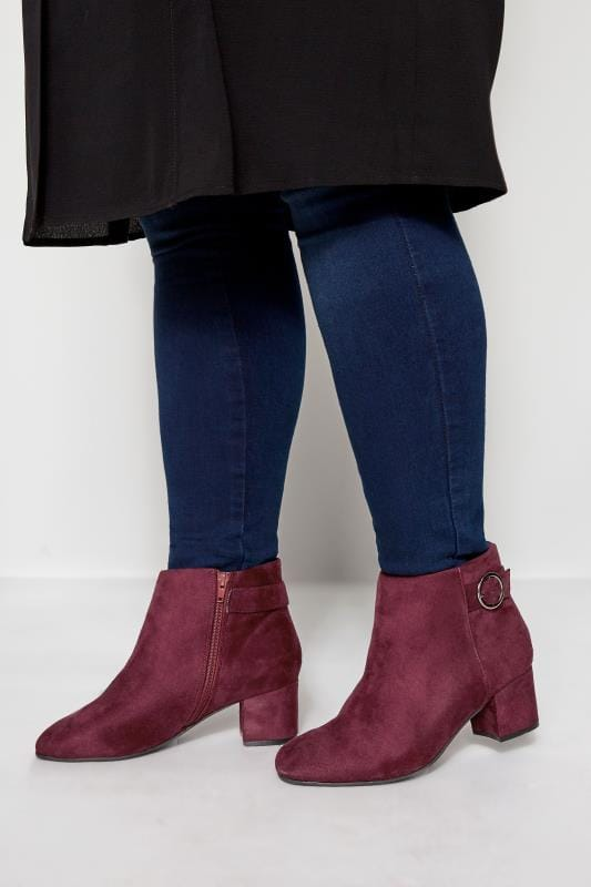 Wide Fit Ankle Boots Burgundy Round Buckle Heeled Ankle Boots In Extra Wide Fit
