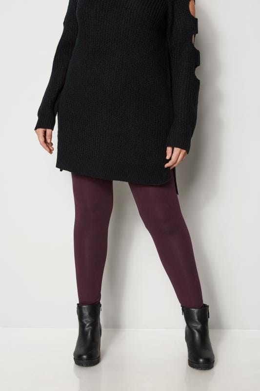 Plus Size Basic Leggings Burgundy Soft Touch Leggings