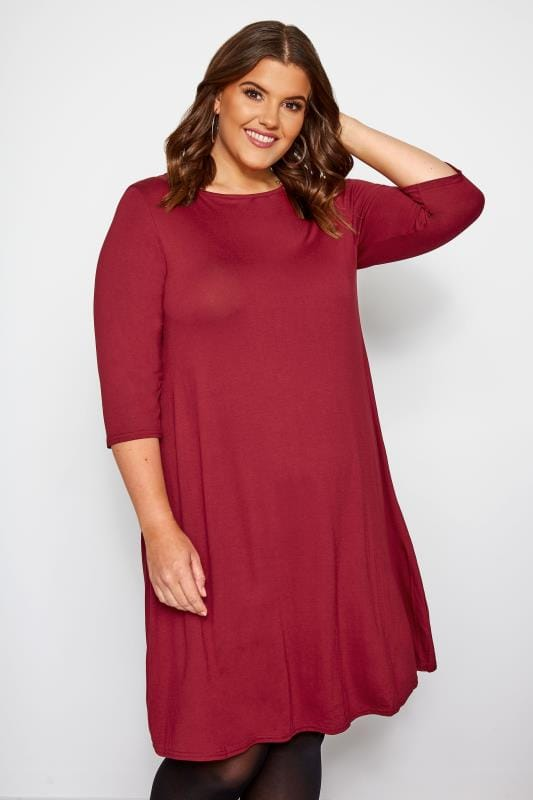 Plus Size Jersey Dresses Burgundy Swing Dress