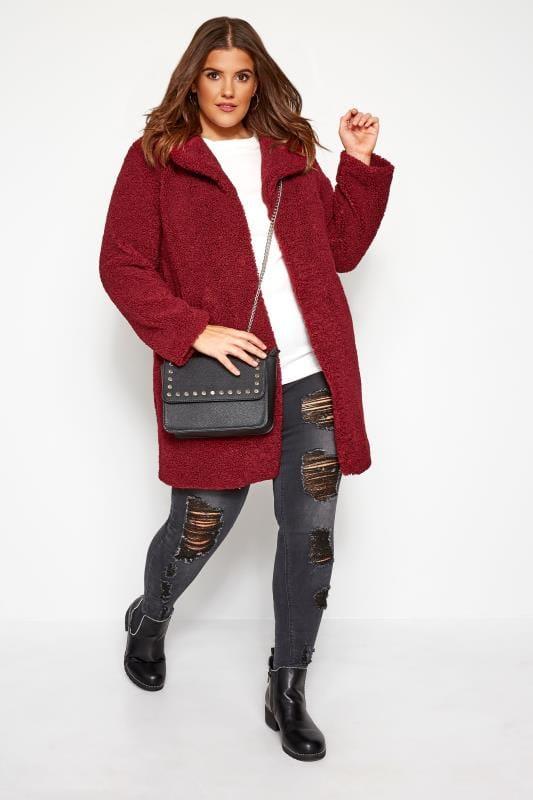 Burgundy Teddy Coat