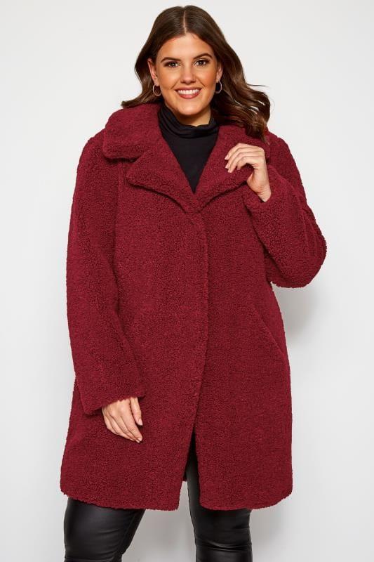 Plus Size Coats Burgundy Teddy Coat