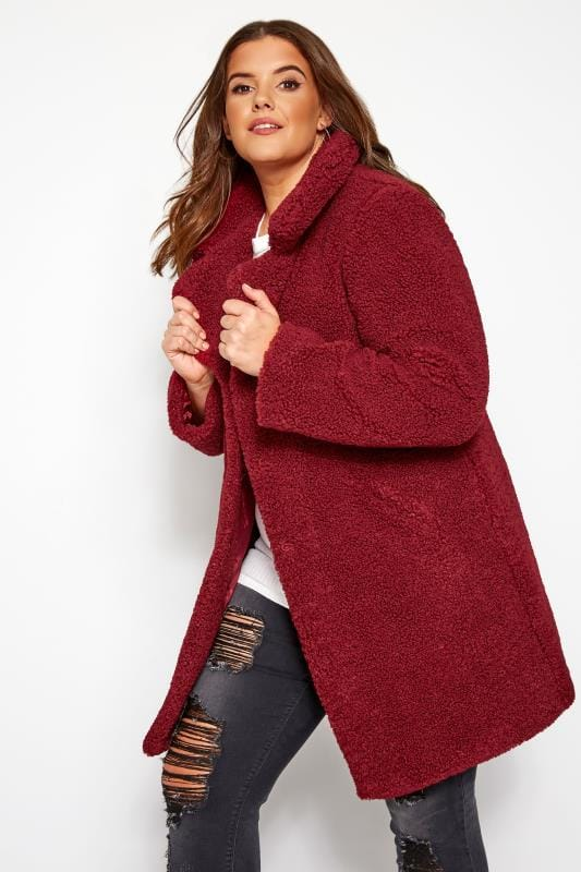 Plus Size Coats Burgundy Teddy Coat