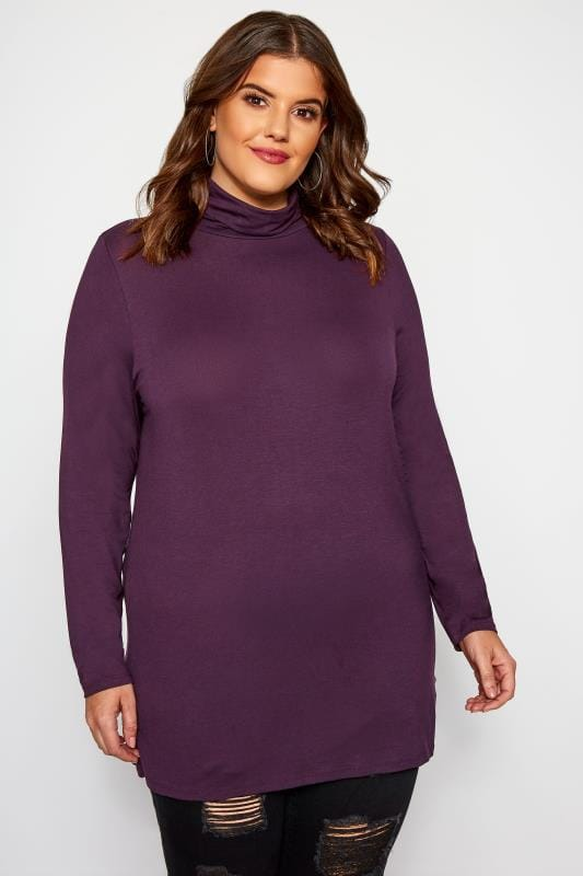 Plus Size Jersey Tops Purple Turtle Neck Top