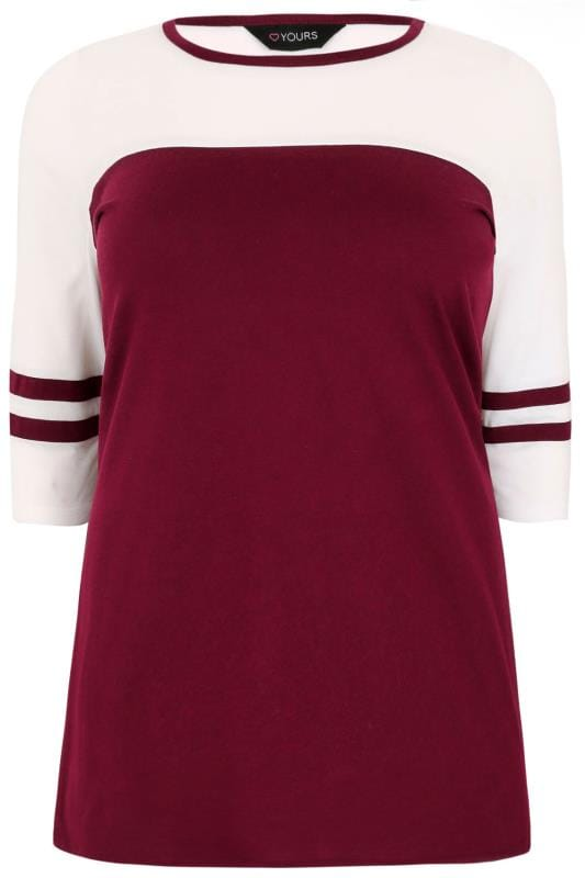 Burgundy & White Jersey Colour Block Top With 3/4 Length Sleeves