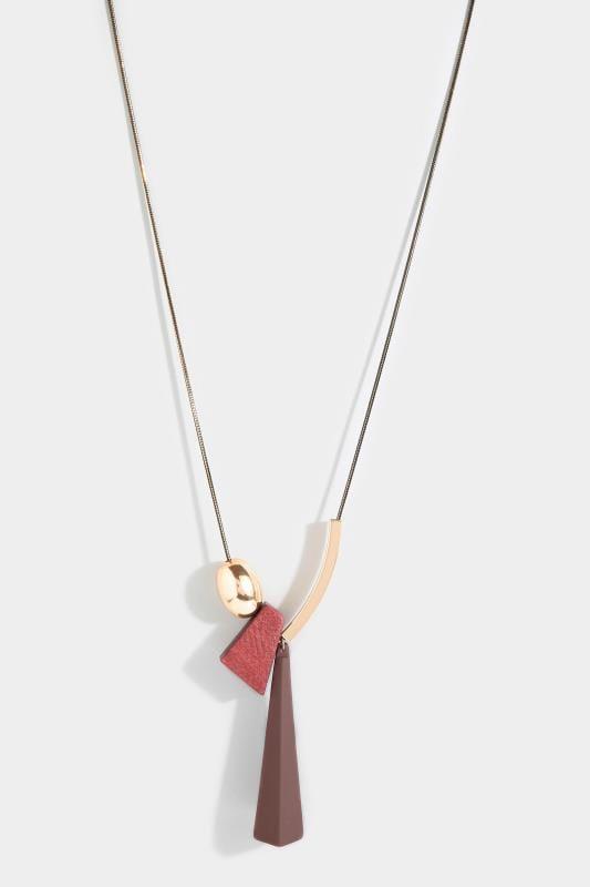 Burgundy Wood Pendant Necklace