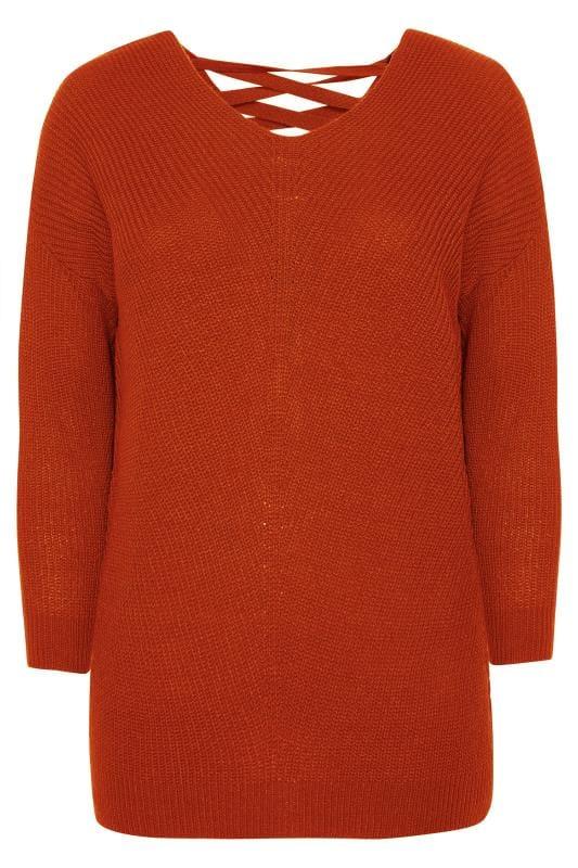 Burnt Orange Lace Back Jumper