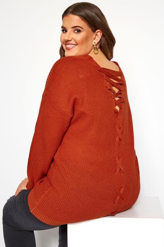 Plus Size Sweaters Burnt Orange Lace Back Jumper