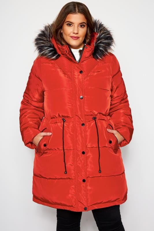 Plus Size Puffer & Quilted Jackets Burnt Orange Longline Puffer Coat
