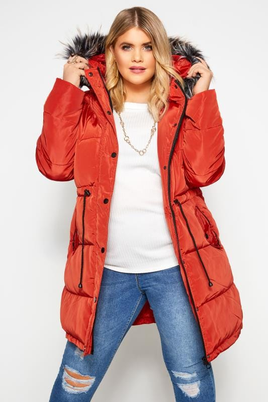 Puffer & Quilted Jackets Tallas Grandes Burnt Orange Longline Puffer Coat