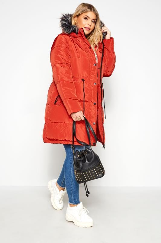 Burnt Orange Longline Puffer Coat