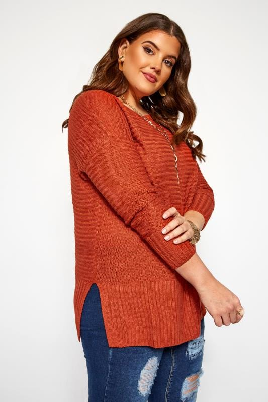 Plus Size Jumpers Burnt Orange Ribbed Knitted Jumper