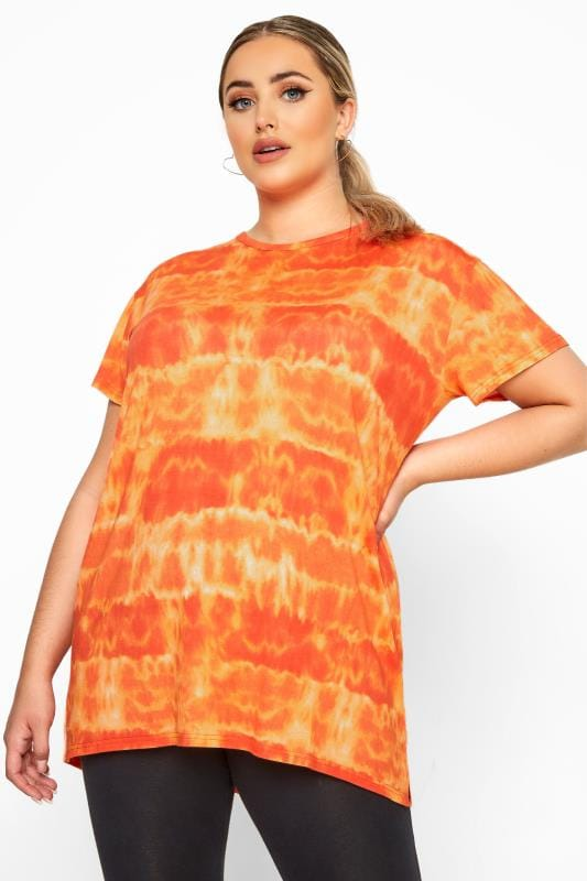 Plus Size T-Shirts LIMITED COLLECTION Orange Tie Dye T-Shirt